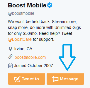 twitter boost mobile message button image