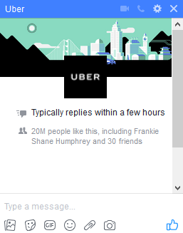 Uber live chat box on Facebook